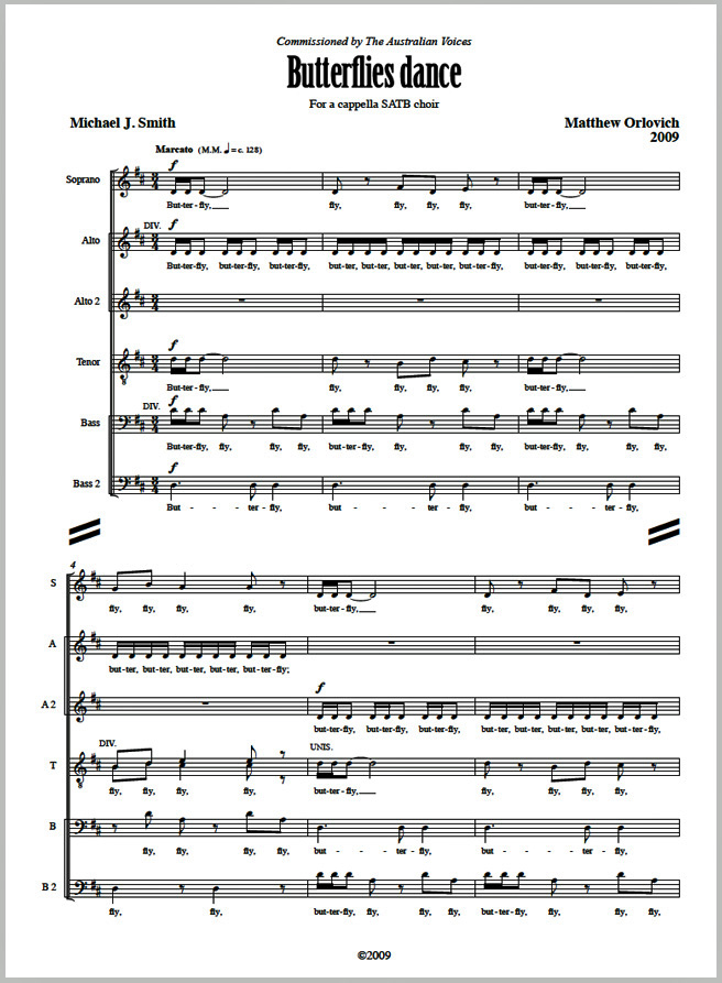 Score sample: Butterflies dance (for a cappella SATB choir, 2009).
