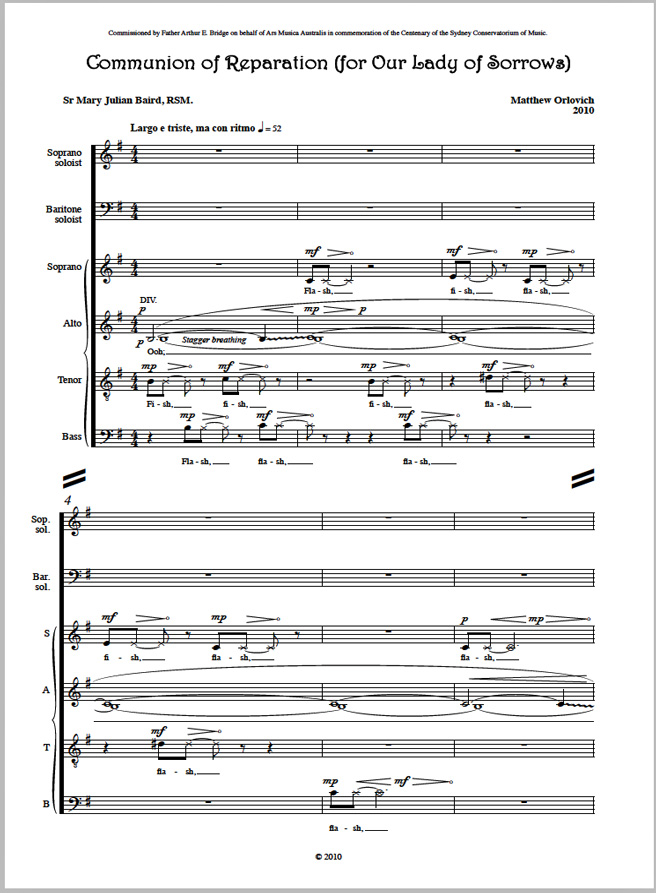 Score sample: Communion of Reparation (for Our Lady of Sorrows)