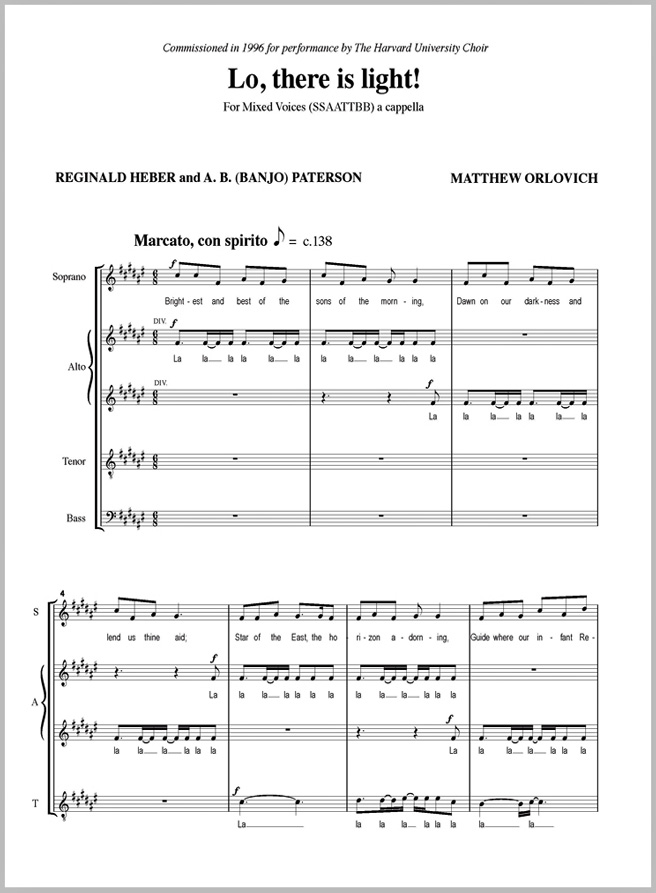 Score sample: Lo, there is light! (for a cappella SATB choir, 1996).