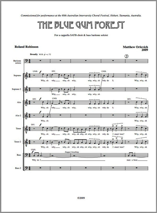 Score sample: The Blue Gum Forest (for SATB choir and baritone soloist, 2009).