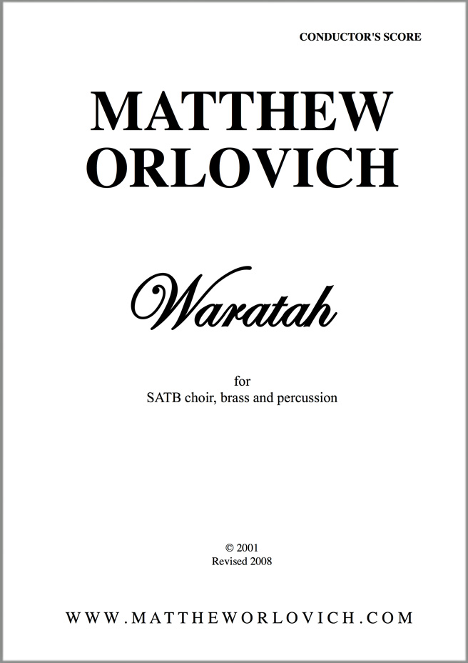 Score sample: Waratah (for SATB choir, brass and percussion) – Title Page