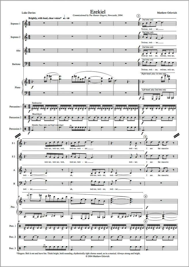 Score sample: Ezekiel (for SSABar choir, piano and percussion, 2004).