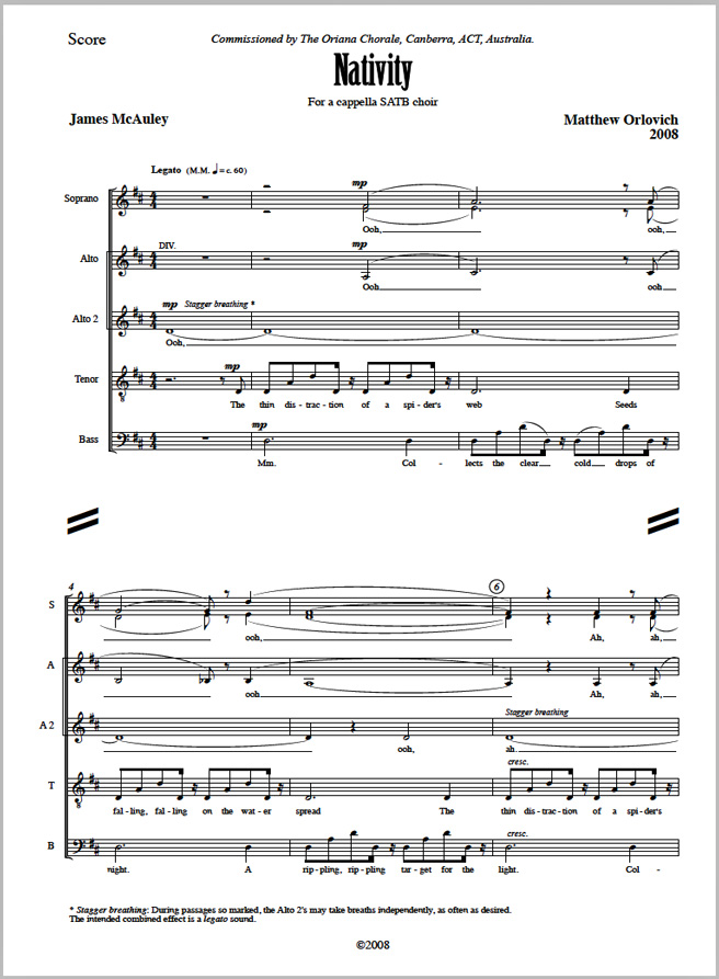 Score sample: Nativity (for a cappella SATB choir, 2008).