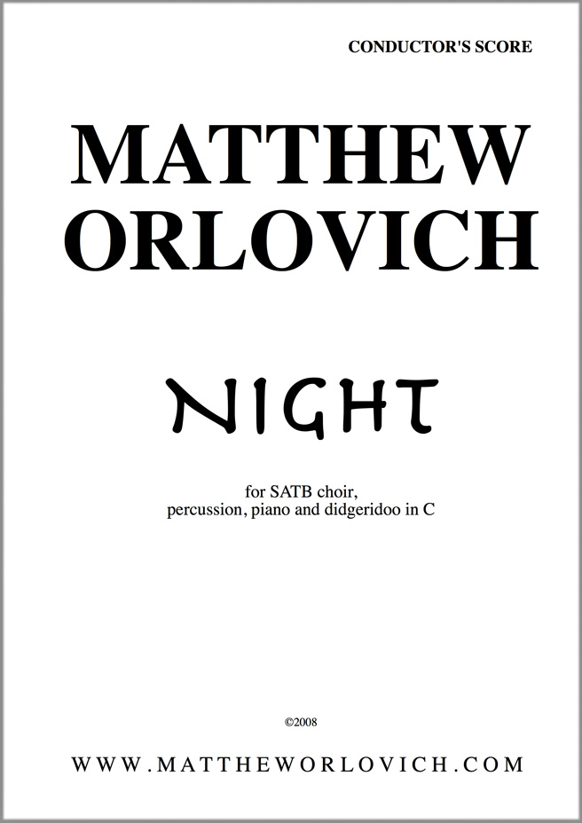 """Score sample: """"Night"""" (for SATB choir, piano, percussion and didgeridoo) – Title Page"""