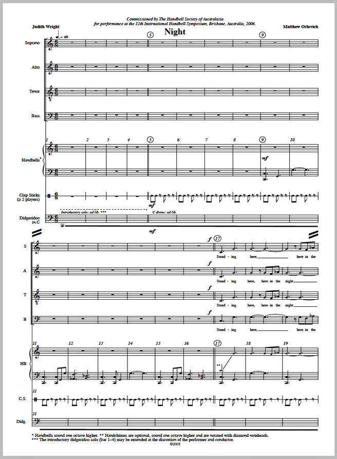 Score sample: Night (for 5 octave handbells, opt. handchimes, SATB choir, clapsticks and didgeridoo in C, 2005).