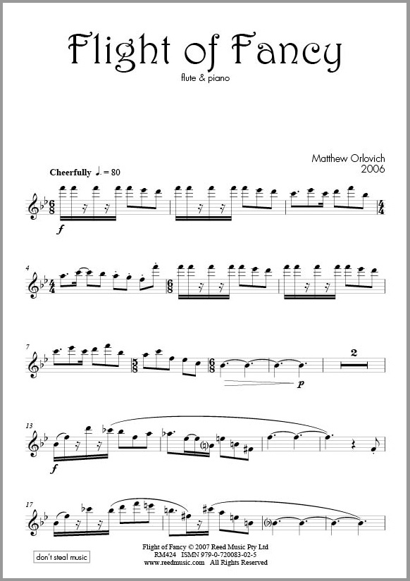 Score sample: Flight of Fancy (for flute and piano).