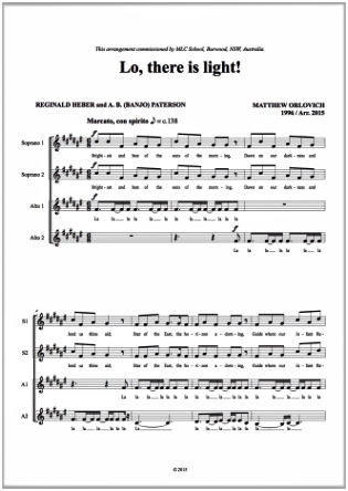 Score sample: Lo, there is light! (for a cappella SSSAA choir)