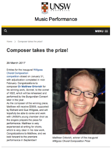 UNSW Music Performance News – Composer takes the prize!