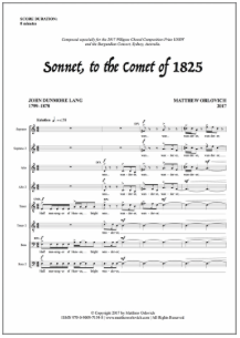 Score sample – Sonnet to the Comet of 1825 (for a cappella SATB choir)