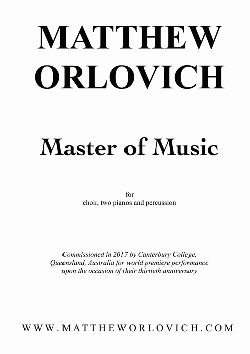 Master of Music – by Matthew Orlovich (Text by Henry Van Dyke).