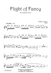 Score sample: Flight of Fancy (for alto sax and piano, 2006).